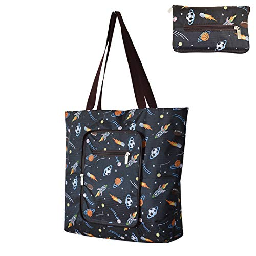 Reusable Shopping Bags Large Foldable Heavy Duty Grocery Bags With Zipper Attached Pouch Sturdy Daily Tote Bags Machine Washable Waterproof For Working Outing Traveling(planets pattern)
