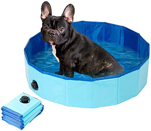 Sweetypet Planschbecken: Faltbarer Hundepool mit rutschfestem Boden & Ablassventil, 80 x 20 cm (Cat-Pool)