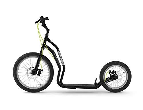 Yedoo Mezeq Tretroller - bis 150 kg, mit Luftreifen 20/16 - Roller Scooter für Erwachsene, Offroad Tretroller mit Ständer und verstellbaren Lenker, Dogscooter mit Scheibenbremse, schwarz