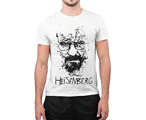 CHEMAGLIETTE! T-Shirt Divertente Uomo Maglietta con Stampa Simpatica Heisenberg Sketch Bianco, M