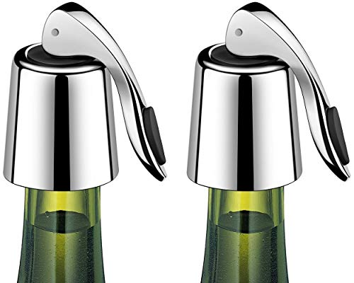 ERHIRY Wine Bottle Stopper Stainless Steel, Wine Bottle Plug with Silicone, Expanding Beverage Bottle Stopper, Reusable Wine Saver, Bottle Sealer Keeps Wine Fresh, Best Gift Accessories (2 PACK)