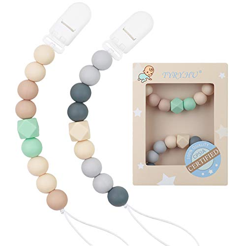 Pacifier Clip Baby Boys Silicone Paci Clip Teething Relief Teether Toy Soothie Binky Holder Chewbeads Birthday Christmas Shower Gift Set of 2 (Beige, Grey)