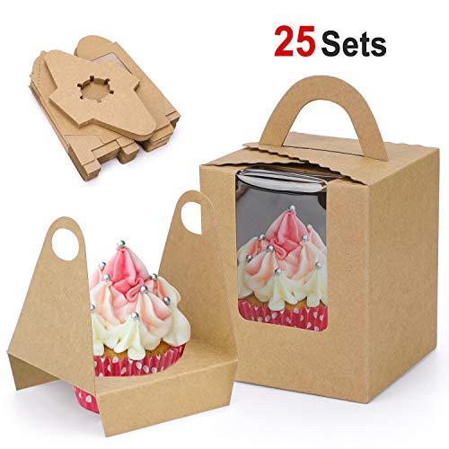 Howaf 25 Cajas para Regalo, Cajas de Papel Kfraft para cupcake con...
