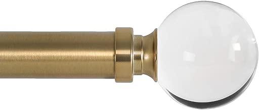Ivilon Drapery Treatment Window Curtain Rod - Acrylic Ball 1 inch Pole. 72 to 144 Inch. Warm Gold