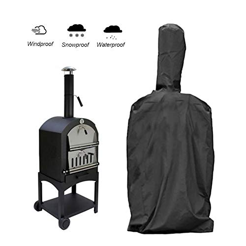 l? Vestmon BBQ Grill Cover Barbecue Cover Waterproof Cloth Black Outdoor Pizza Oven Rainproof Windproof Cover Barbecue Box Dust Proof Anti-UV PVC Coating Cover