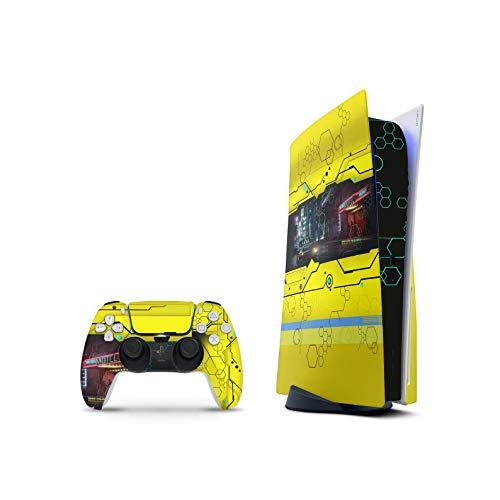 PS5 Skin Console Controllers De 46 North Design, Misma Calidad Que Las Calcomanías De Coche, Cyberpunk Inspired Game Scifi, Alta Calidad, Duradera, Compatible Con PS5 W/Disk, Fabricado En Canadá