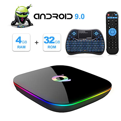 Q Plus Android 9.0 TV Box con Mini Teclado inalámbrico retroiluminado, Allwinner H6 Quad-Core 64bit Arm Corter-A53 CPU 4GB RAM 32GB RAM Mali T720 GPU 4K 6K Resolución 2.4GHz WiFi 100M LAN Enternet