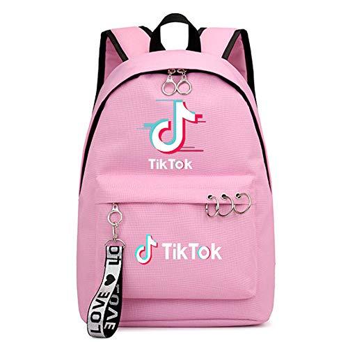 Tiktok Printing Boys and Girls Webbing Bag Backpack Student School Bag-Pink5_30cm*16*cm44cm