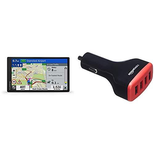 Garmin DriveSmart 65 MT-D EU Navi - extragroßes Touch-Display, 3D-Navigationskarten und Live-Traffic & Amazon Basics - Kfz-Ladegerät, USB-Anschluss: 4 Eingänge, 9,6Ampere / 48W, Schwarz/Rot