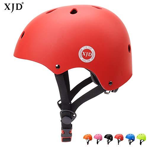 XJD Casco de Ciclismo para Niños Ajustable y Resiste al Impacto Ventilación con Muchos Colores -para Multideportivo Patineta Bicicleta Rollerskate Ciclismo (Rojo, S)