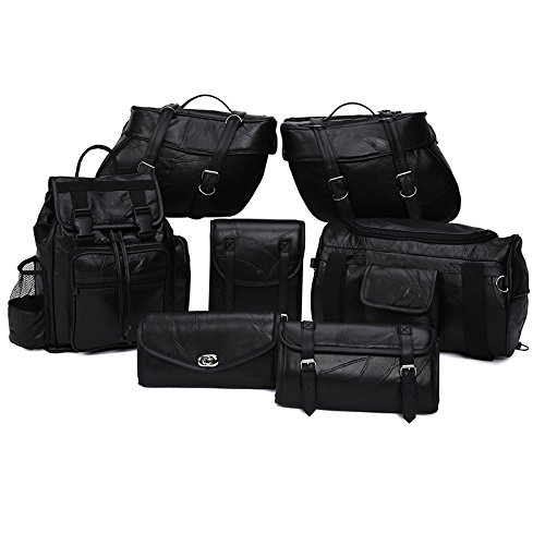 Motorcycle Bags - Luggage Set - All Genuine Leather - Fits Any US Bike - Extra Storage Pockets Featuring Rugged Stitching - Set of 9 Pieces