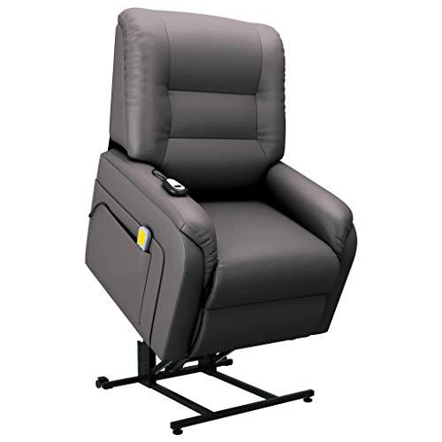 Massagefauteuil elektrisch sta-op-stoel kunstleer grijs