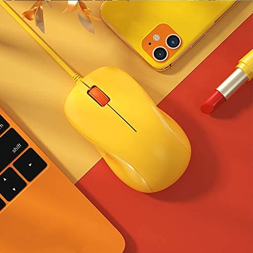 CORN USB Silent Wired Computer Mouse with Easy Click for Office and Home, 1200DPI, Premium and Portable, Compatible with Windows PC, Laptop, Desktop, Notebook (Yellow)