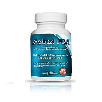 Avinol PM - Best Natural Sleep Aid   Herbal Formula for Better Sleeping   Treatment for Jet Lag Insomnia Symptoms & Restlessness with Melatonin Lemon Balm Passion Flower 5-HTP L-Theanine Chamomile