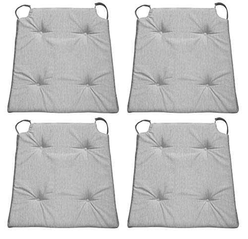 sleepling 4er Set Stuhlkissen/Sitzkissen für Indoor und mit Klettverschluss, Maße: 42 (vorne) / 35 (hinten) x 40 x 5 cm, hellgrau