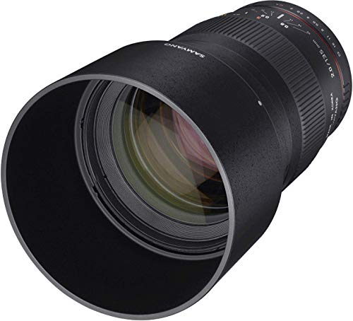 Samyang F1112209101 - Objetivo fotográfico DSLR para Micro Cuatro Tercios (Distancia Focal Fija 135mm, Apertura f/2-22 ED UMC, diámetro Filtro: 77mm), Negro