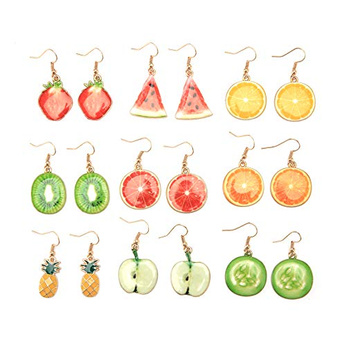 Creative Assorted Multiple Trendy Fruits Dangle Earrings for Women's