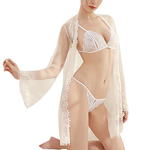 Costumi per adulti Abbigliamento erotico Sexy lingerie porno body intimo donna pigiama babydoll abito mini halter indumenti da notte maglia prospettiva prospettiva vestito sex shop H4-White_One_Size_