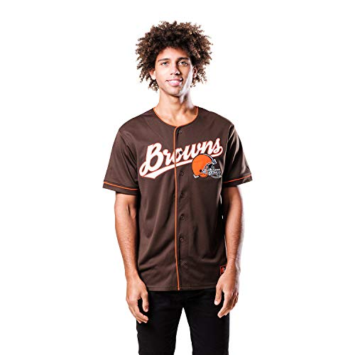 Ultra Game NFL Cleveland Browns Mens Mesh Baseball Jersey Tee Shirt, Team Color, Large