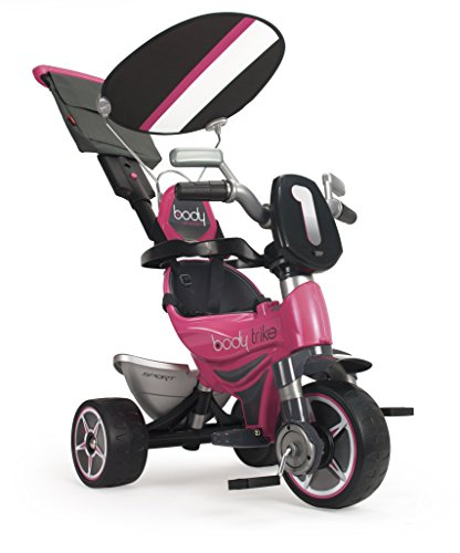 INJUSA - Triciclo Evolutivo Body Sport Rosa Recomendado a Niños de 10 Meses a 3 Años con Mango de Dirección Parental Techo Solar y Bolso Extraíble