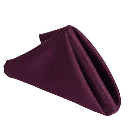 """Efavormart Pack of 25 Eggplant Premium 17"""" x 17"""" Washable Polyester Napkins Great for Wedding Party Restaurant Dinner Parties"""