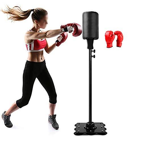 AJOYCN Base De Ventosa Pesada Bolsa De Boxeo con Guantes De Boxeo,Altura Ajustable Velocidad Columna para Niños Adultos,Autoportante Saco De Boxeo para Fitness-Negro 155cm