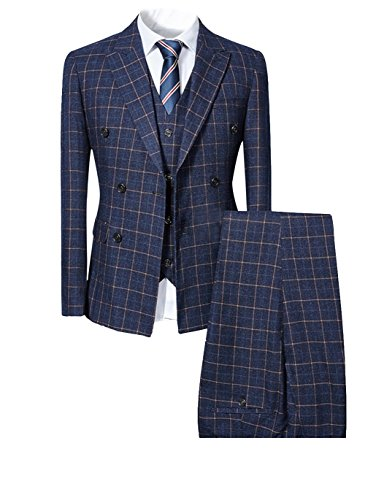 Mens Blue Slim Fit 3 Piece Checked Suits Double Breasted Vintage Fashion (X-Large, Navy)