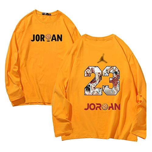 lkjhgfd Hombres # 23 Camiseta De Baloncesto Jordan, Juventud De Manga Larga De Deporte Crew Collar Camiseta del Deporte De Impresión Tops Sudadera De Entrenamiento con Capucha Yellow-M