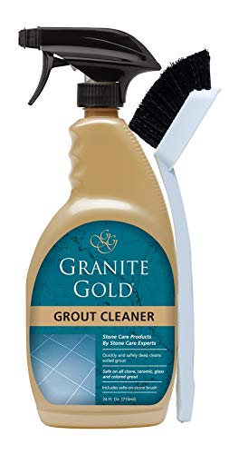 Granite Gold Grout Cleaner And Scrub Brush - Acid-Free Tile And Grout Cleaning For Dirt, Mildew, Mold - 24 Ounces