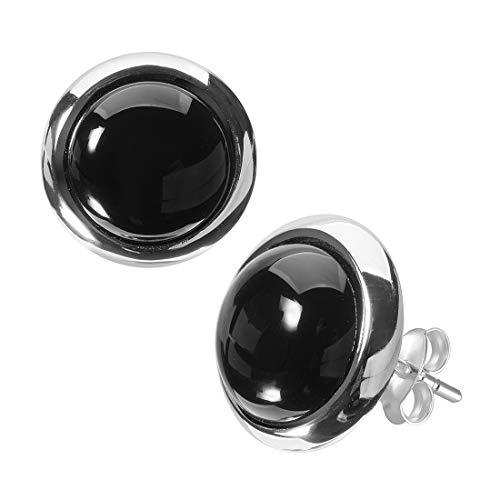 MATERIA Damen Ohrstecker Onyx Edelstein 925 Silber schwarz rund rhodiniert in Schmuckbox #SO-349