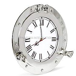 Nagina International Premium Silver Lined Aluminum Nickel Coated Nautical Ship's Porthole Window ! Maritime Wall Decor Mirror | Exclusive (20 Inches, Clock)