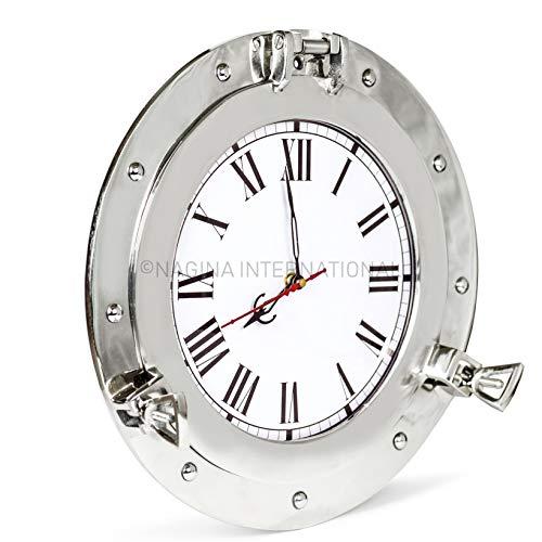 Nagina International Premium Silberbeschichtetes Aluminium Nickelbeschichtetes Bullauge Fenster! Maritime Wanddekorspiegel   Exklusives (15 Zoll, Uhr)