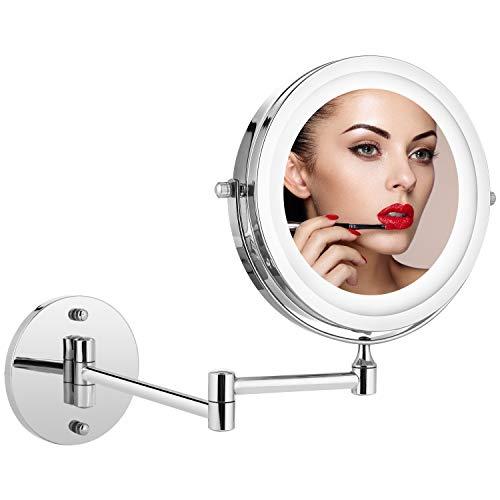 Athomestore Kosmetikspiegel mit LED Beleuchtung, Kosmetikspiegel beleuchtet wandmontage, vergrößerungsspiegel 1x/5xFach - 360° Horizontal Schwenkbar und Vertikal, Metall Verchromt