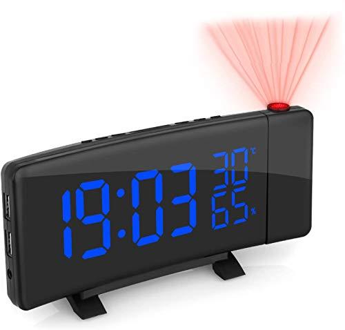 ZOVCAL Radiosveglia con Proiettore Dimmerabile, FM Orologio con Doppi Allarmi, USB Porta di Ricarica, Funzione di Snooze, Sleep Timer, 3 Cambi di Colore, 7.5''Display LED con Dimmer, 12/24 Ora