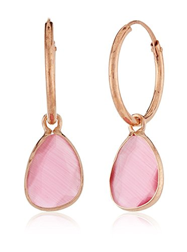 Córdoba Jewels | Pendientes en plata de Ley 925 bañado en oro rosa y piedra semipreciosa. Diseño Aro rosa de Francia