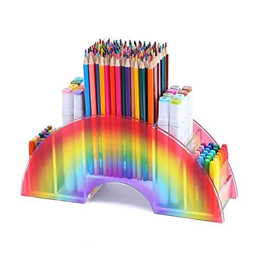 MaxGear Acrylic Pen Holder for Desk, Rainbow Supply Caddy, Cute Pencil Holder for kids, Crayon Holder organizer, Multi-Functional Pen Organizer, Art Supply Organizer for Office & Home