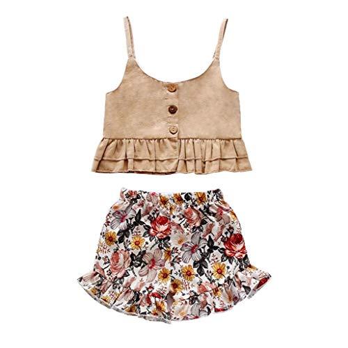 Ohomr Baby Vest Shorts Infant Blumen Short Bloomers Kleinkinder Sommer-Rüsche-Weste Outfit 2ST Beige 100cm
