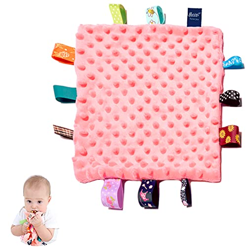 Baby Security Blanket, Pink Appease Blankets with Colorful Tags, Infant Tag Toy, Soft Plush Blanket, Soothing Sensory Blanket(10 x 10 inches)