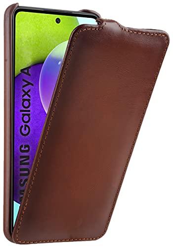 StilGut Funda ultrafina compatible con Samsung Galaxy A72, funda de piel – Samsung A72 Flip Case, funda para teléfono móvil, funda de piel – coñac antiguo