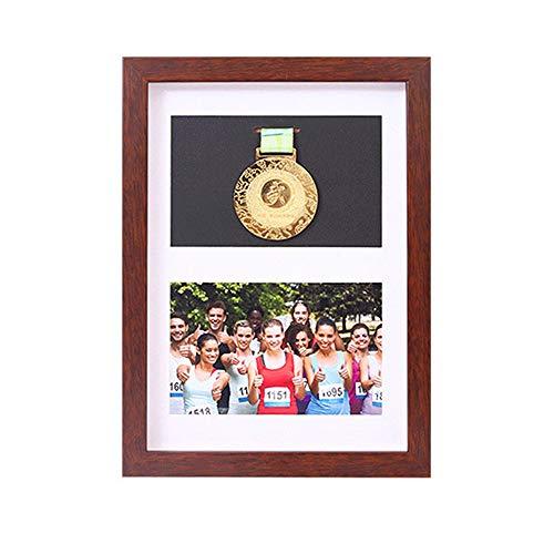 xj Medaillenkasten,Medaille Display Rahmen, Medaillendisplay, Fotorahmen, Box 3D, bilderrahmen 3 Holz mit Glas und Passepartout, Vitrine für Orden und Ehrenzeichen Holz-Vitrine für 1 Medaille