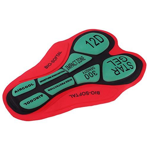 F Fityle Ciclismo Intimo da Gel 3D imbottito Accessori per Pantaloni da Bicicletta - 12D rojo verde, tal como se describe
