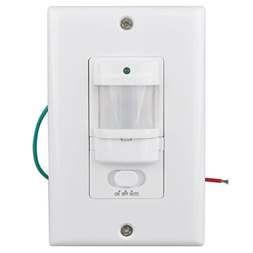 Sensky BS033C 110v Motion Sensor Light Switch, 180 Degree View Occupancy Sensor Switch, Wall Sensor Switch Light Sensor 3 Wires (Neutral Wire Required),White