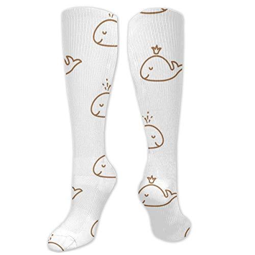 Leuke Walvissen Baby Naadloos Patroon Sokken Knie Hoge Sokken Vrouwen 50cm