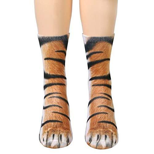 DERCLIVE Erwachsene Kinder 3D Tier Pfote Katze Tiger Füße Drucken Fuß Crew Socken Elastische Strumpfwaren 13 Tiere Zur Auswahl