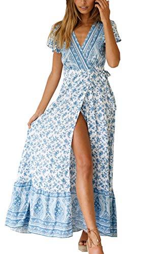 Ajpguot Vestido de Verano Mujer Impresión Maxi Vestidos de Playa Elegante Beachwear Largo Dress con Cinturón Sexy V-Cuello Manga Corta Hendidura Vestido de Partido (L, Cielo Azul)