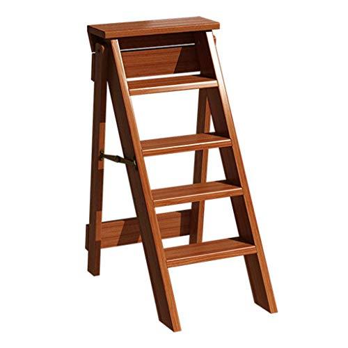 JPL Taburetes para el hogar, taburete plegable multifunción para el hogar, silla con escalera de 5 escalones, zapatero, estante para flores, taburete para la cocina (color: nogal, tamaño: 50 × 34 × 8