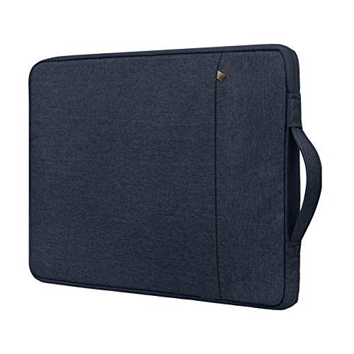RAINYEAR 15.6 Inch Laptop Sleeve Case Compatible with 15.6' Notebook Computer Chromebook,Handbag with Handle Strap Front Pocket Padded Briefcase Polyester Waterproof Cover Protective Bag,Navy Blue