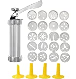 Cookie Press Stainless steel biscuit maker and fritter maker with 20 discs and 4 icing techniques (silver) (one size)