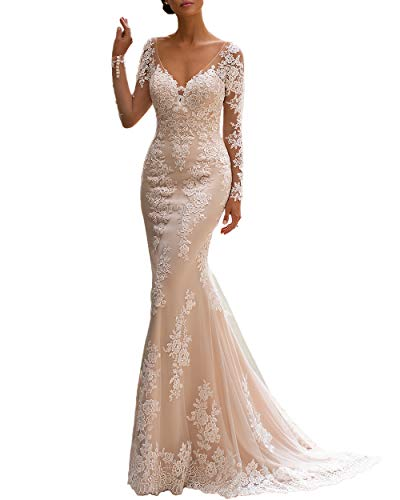Noras dress Women's Long Sleeve Mermaid Wedding Dresses for Bride 2021 Illusion Lace Bridal Gowns White 2