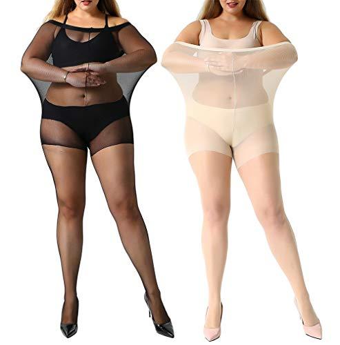 Manzi - 2 pares de medias de control ultrasuaves de talla grande para mujer 1 par negro, 1 par desnuda (transparente). XXX-Large